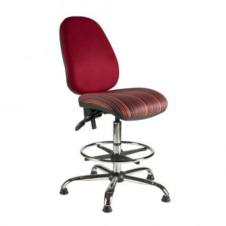 Large Draughtsman Chair with High Back - Chrome Base