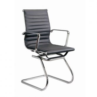 Eames Style Ribbed Leather Boardroom Chair - Black