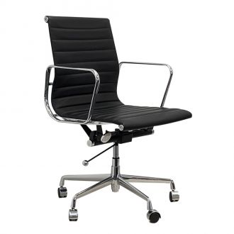 Eames Style Ribbed Leather Office Chair - Black
