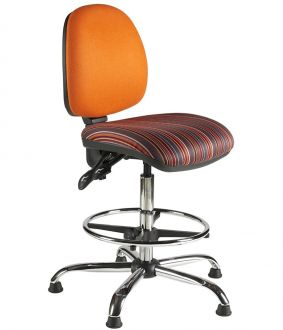 Draughtsman Chair with Medium Back - Chrome Base