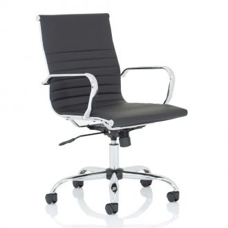 Ribbed Leather Operator Chair - Black