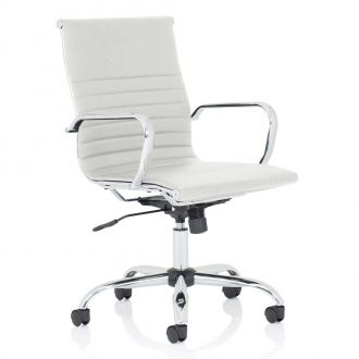 Ribbed Leather Operator Chair - White