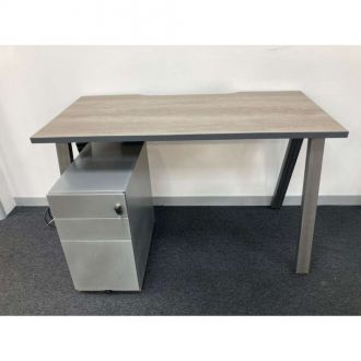 Second Hand Distressed Wooden Bench Desk with Pedestal