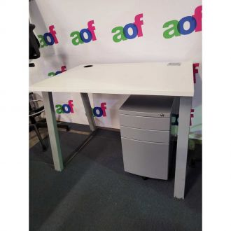 Second Hand Small White Desk with Mobile Pedestal